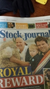 Taljar's Interbreed win featured on the front cover of the Stock Journal