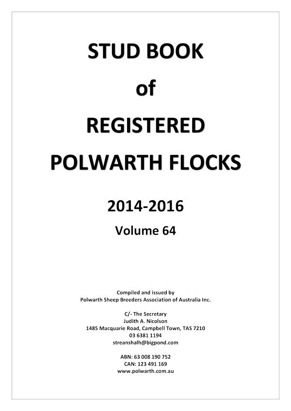 Polwarth SBAA Stud Book Vol 64 2014 2016